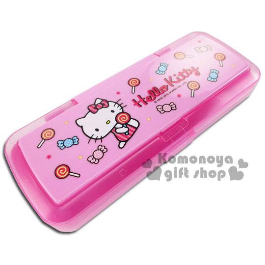 〔小禮堂〕Kitty 雙層鏡梳筆盒《粉.糖果》增加學習樂趣