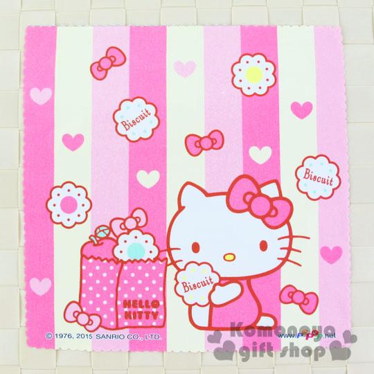 〔小禮堂〕Hello Kitty 超級纖維拭鏡布《粉.直條紋.側坐.餅乾》波浪邊