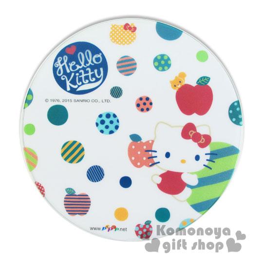 〔小禮堂〕Hello Kitty 晶彩透明滑鼠墊《圓.白.圈圈.圖案蘋果》