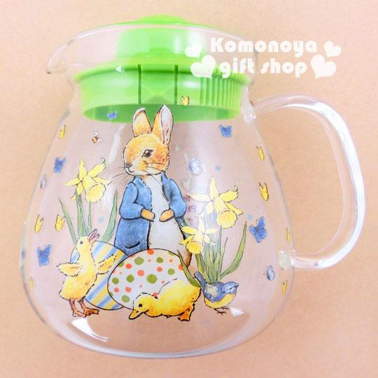 〔小禮堂〕彼得兔 玻璃花茶壺《透明.兔子.小雞.960ml》群蝶飛舞系列