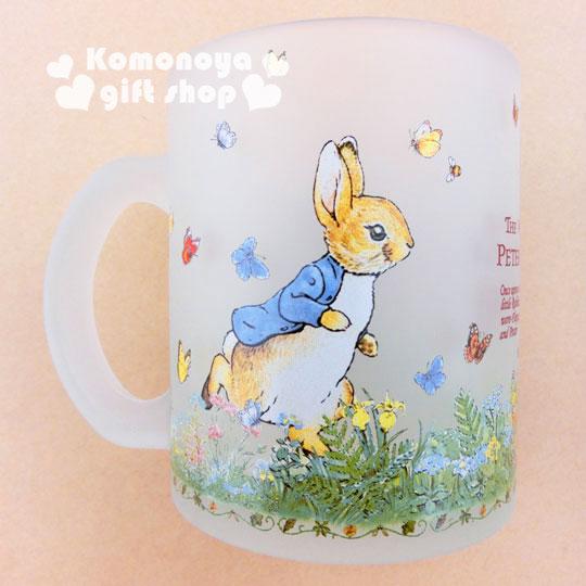 〔小禮堂〕彼得兔 玻璃馬克杯《霧面.兔子.跑步.350ml》群蝶飛舞系列