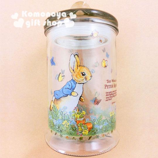 〔小禮堂〕彼得兔 玻璃儲物罐《透明.兔子.跑步.700ml》群蝶飛舞系列