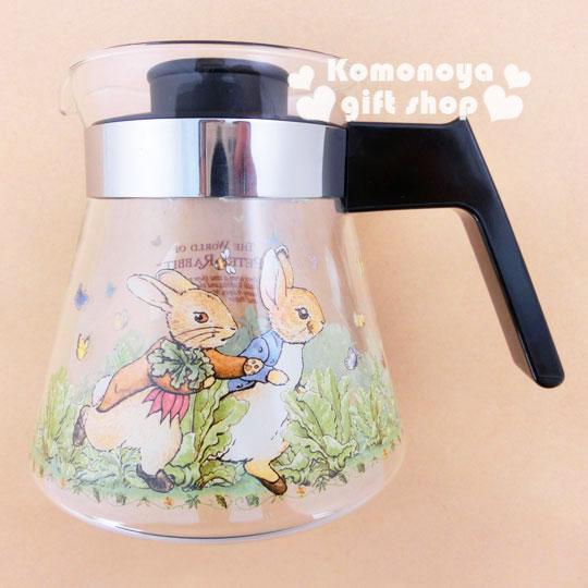 〔小禮堂〕彼得兔 玻璃咖啡壺《透明.兔子.跑步.750ml》群蝶飛舞系列
