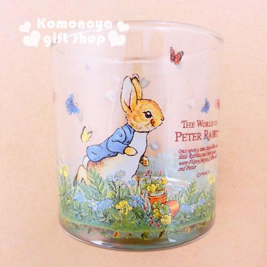 〔小禮堂〕彼得兔 玻璃威士忌杯《小.透明.兔子.跑步.245ml》群蝶飛舞系列