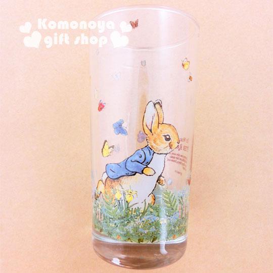 〔小禮堂〕彼得兔 玻璃直水杯《透明.兔子.跑步.420ml》群蝶飛舞系列