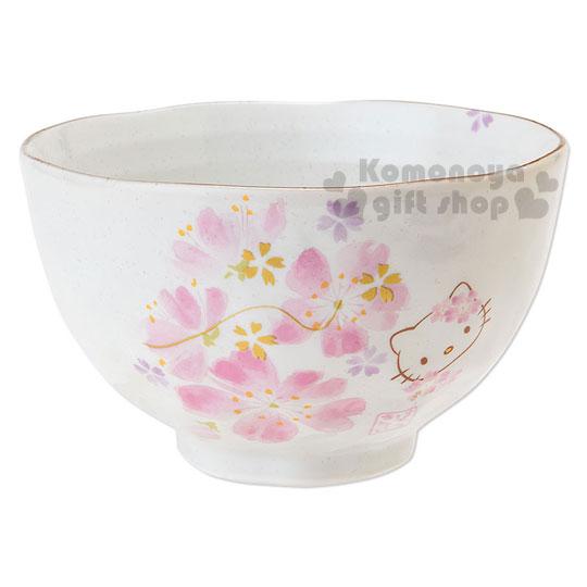 〔小禮堂〕Hello Kitty 日製陶瓷碗《白.櫻花.和服裝扮》日系和風