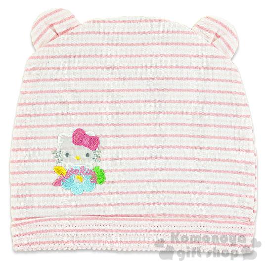 〔小禮堂〕Hello Kitty 嬰兒帽~粉.條紋.刺繡.大臉~100^%純棉