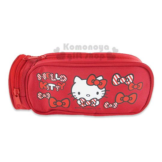 〔小禮堂〕Hello Kitty 尼龍拉鍊筆袋《深紅.多蝴蝶結.大臉》可當化妝包使用