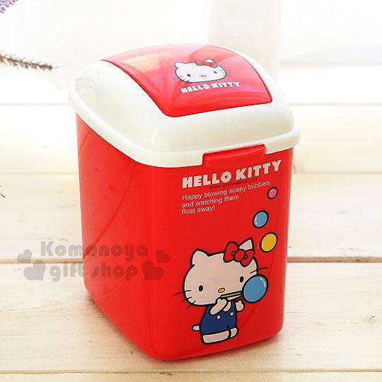 〔小禮堂韓國館〕Hello Kitty 迷你平衡蓋垃圾桶《長方型.紅.站姿.吹泡泡》可放桌面尺寸