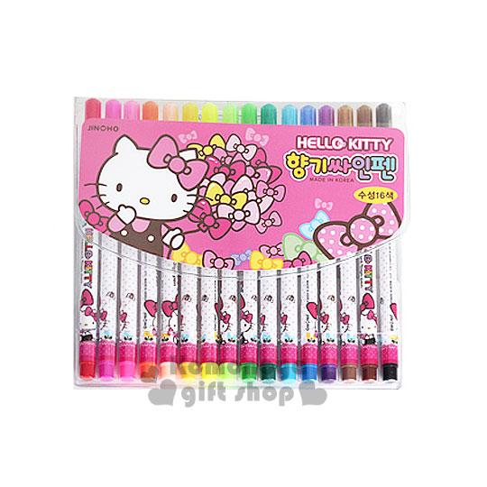 〔小禮堂韓國館〕Hello Kitty 彩色筆組《細筆.16色.粉.側坐.點點》增添可愛氣氛