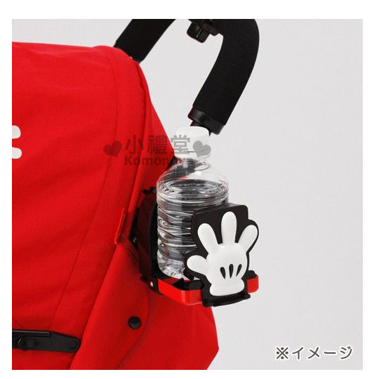 〔小禮堂嬰幼館〕迪士尼 米奇 嬰兒車專用飲料架《紅黑.米奇衣服》350ml瓶罐專用