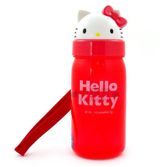 〔小禮堂〕Hello Kitty 隨身吸管冷水瓶《紅.KT臉型蓋》便利上推式蓋子