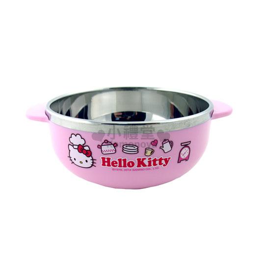 〔小禮堂韓國館〕Hello Kitty 雙耳平底碗《S.粉.小廚師》可隔熱.LOCK&LOCK樂扣系列