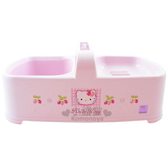 〔小禮堂韓國館〕Hello Kitty 手提雙格香皂置物盤《粉紅.草莓》也可放鬃刷