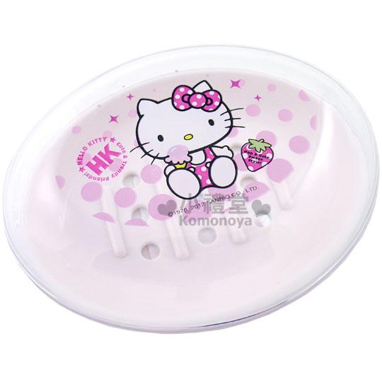 〔小禮堂韓國館〕Hello Kitty 透明蓋皂盒《白.粉圓點.冰淇淋》底部有洞
