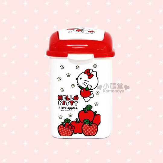 〔小禮堂韓國館〕Hello Kitty 長方垃圾桶《白.SS.蘋果.小花》桌上迷你型.輕鬆美化空間