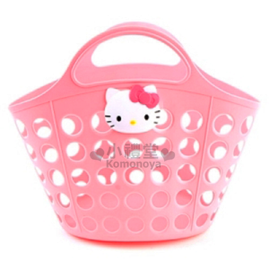 〔小禮堂韓國館〕Hello Kitty 軟式通風提籃~粉.大臉~2D立體裝飾