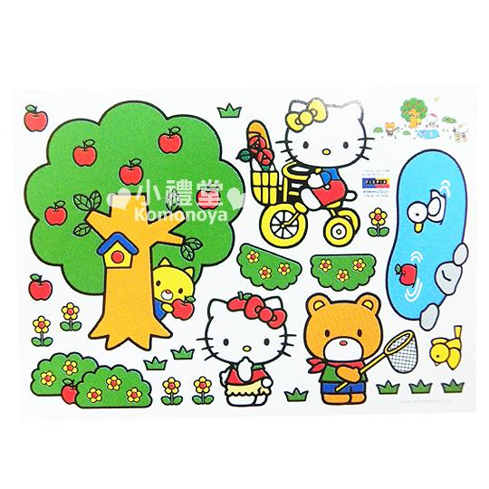 〔小禮堂韓國館〕Hello Kitty 創意壁貼《蘋果樹.騎腳踏車》隨心創造夢幻空間