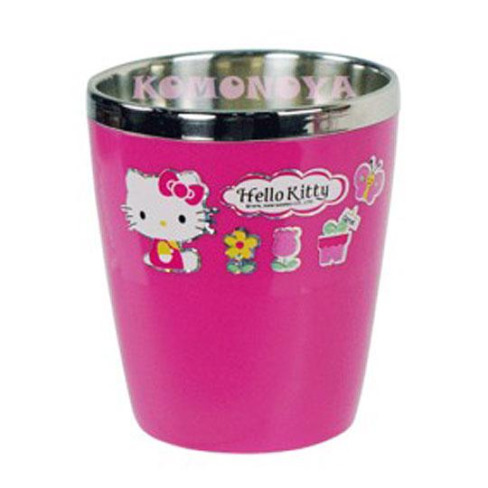 〔小禮堂韓國館〕Hello Kitty 茶杯《桃紅.花》不鏽鋼隔熱食器系列