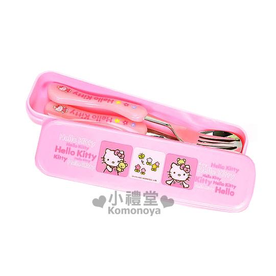 〔小禮堂〕Hello Kitty 盒裝叉匙餐具組《粉紅.小熊》曲線握柄好握不滑手
