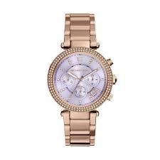 【MICHAEL KORS】正品 玫瑰金 粉紫鑽錶 三眼計時 MK6169
