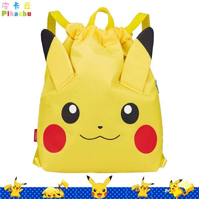 大田倉 日本進口正版 神奇寶貝  Pikachu 皮卡丘 大臉黃色 保冷袋 束口後背包 側面有拉鍊  294433