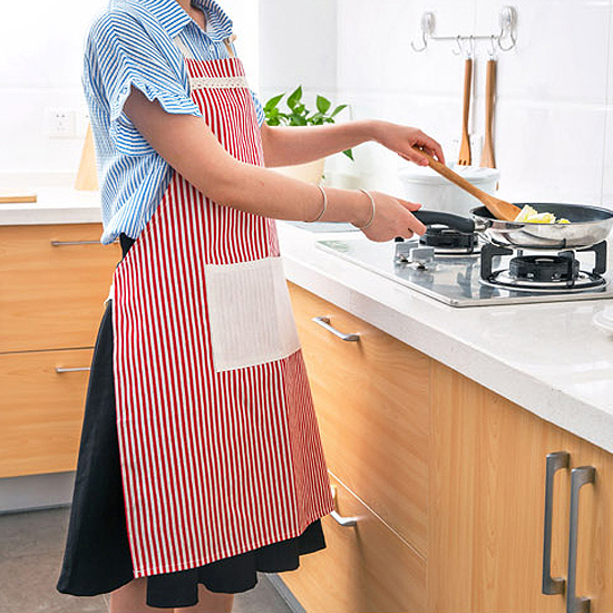 ♚MY COLOR♚直條紋款麻棉圍裙 廚房 料理 烘焙 工作 無袖 家居 防髒 口袋 綁帶 罩衣【M166】