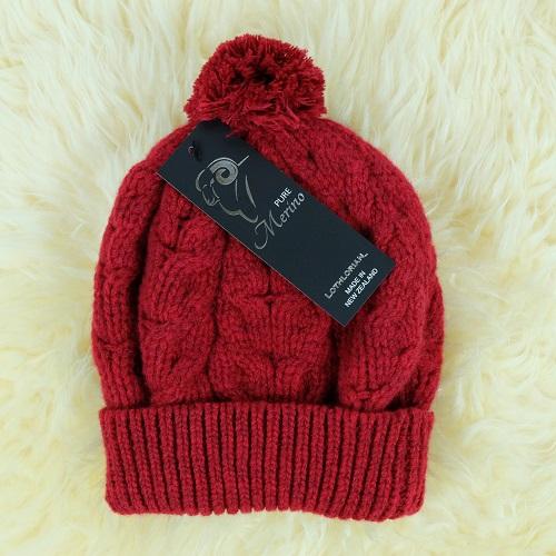 紐西蘭100%純羊毛帽*毛球麻花粗針織毛線帽*深紅色(美麗諾Merino)