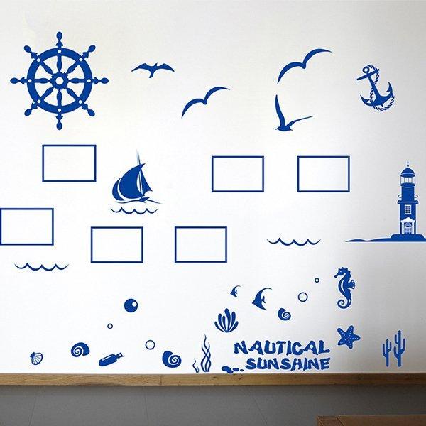 BO雜貨【YV0649】DIY時尚裝飾組合可移動壁貼 牆貼 壁貼 創意壁貼 地中海照片牆XL7131