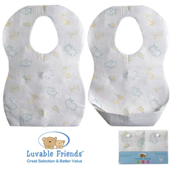 美國 Hudson Baby/Luvable Friends 嬰幼用品 拋棄式圍兜兜/免洗圍兜兜/紙圍兜 (12入)