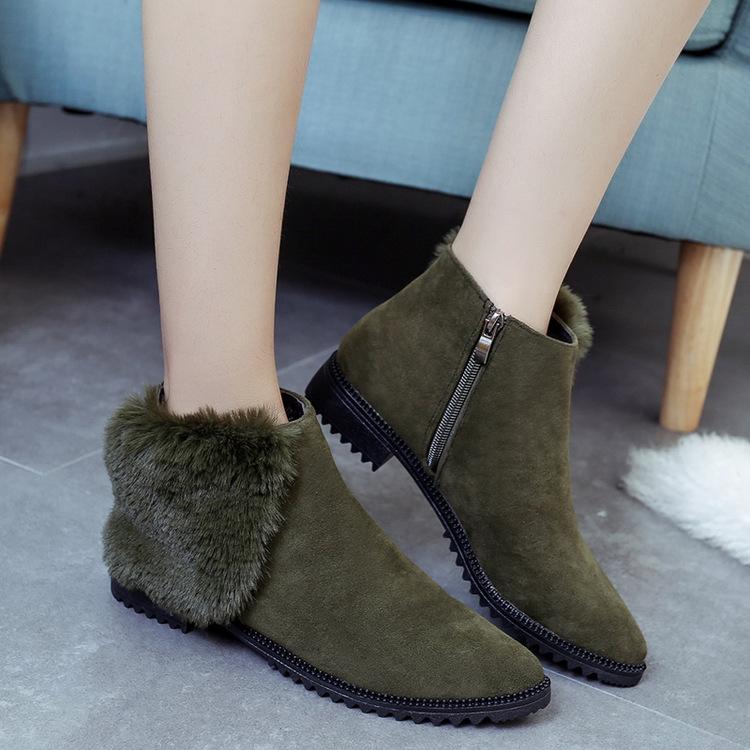 冬季歐美新款平底方跟尖頭側鏈接馬丁靴保暖鋪棉內裡外翻毛毛磨砂皮雪靴