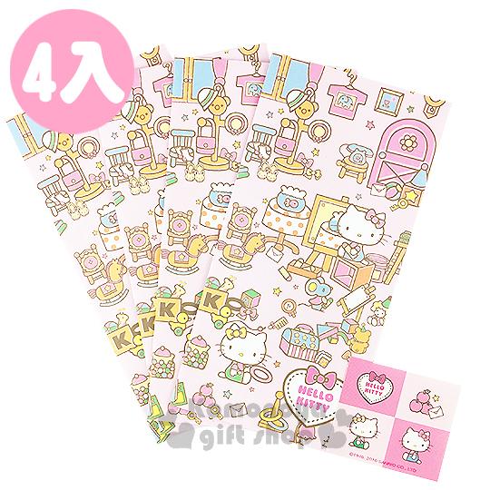 〔小禮堂〕Hello Kitty 日製紅包袋《4入.L.粉.坐姿.玩具.老鼠.附貼紙》財源滾滾來