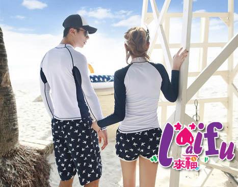 來福,V144浮潛衣韓版浪花沖浪服浮潛長袖泳衣單外套,單上衣男生售價820元