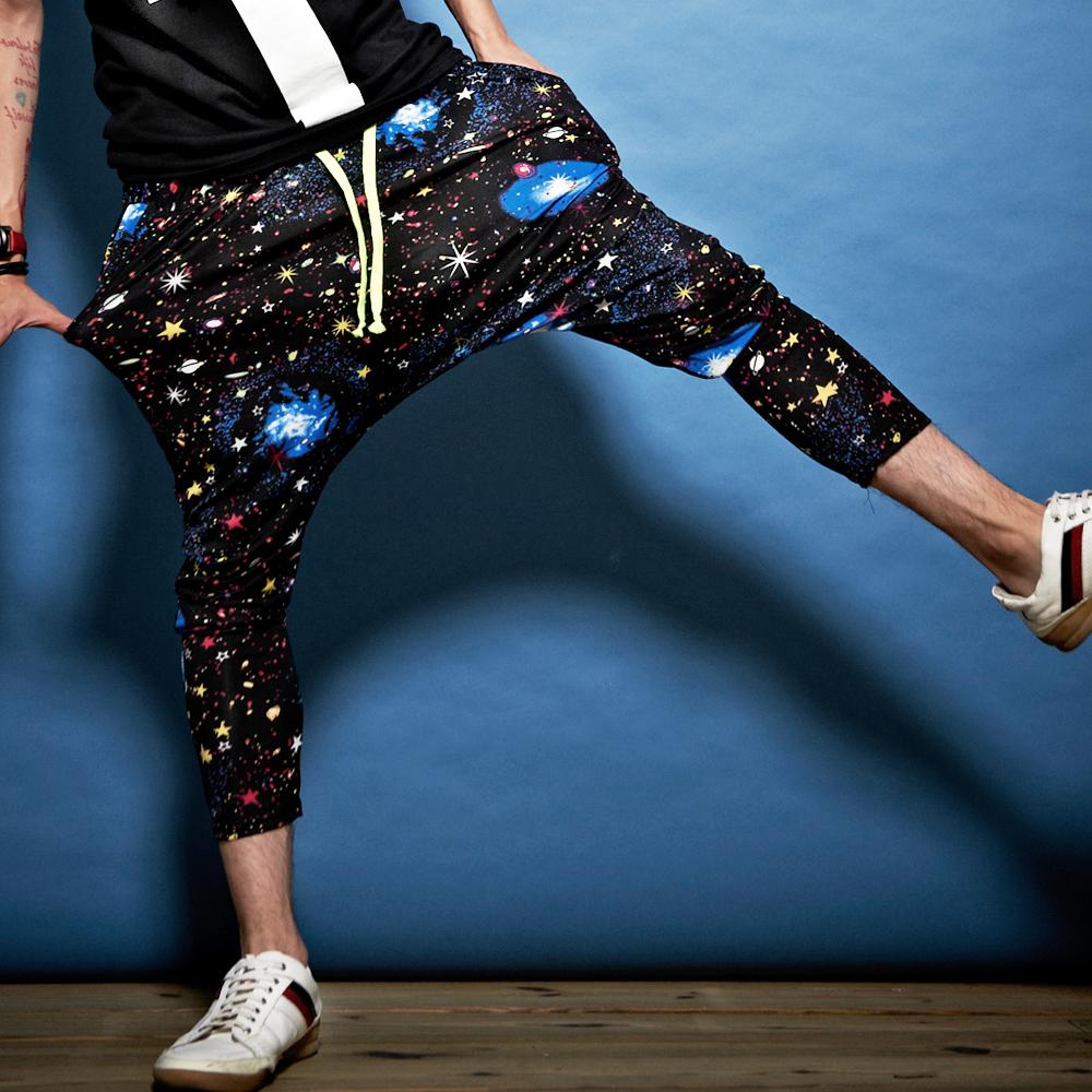 DITION  數位銀河星球螢光抽繩低檔飛鼠褲