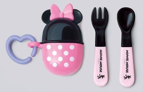 『日本代購品』迪士尼 米妮造型 攜帶型寶寶餐具 湯匙叉子組 日本製