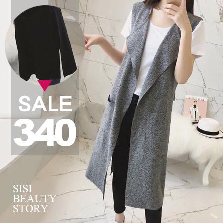 SISI【C6021】原宿風無袖馬甲西裝寬鬆顯瘦中長款罩衫外套