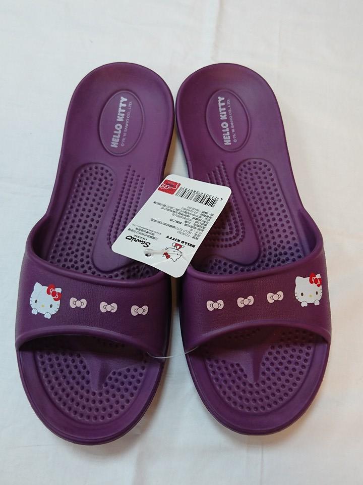 599免運~紫色HELLO KITTY拖鞋尺寸36.38.40 台灣製造超輕防水防滑拖鞋室內外拖鞋 浴室拖鞋