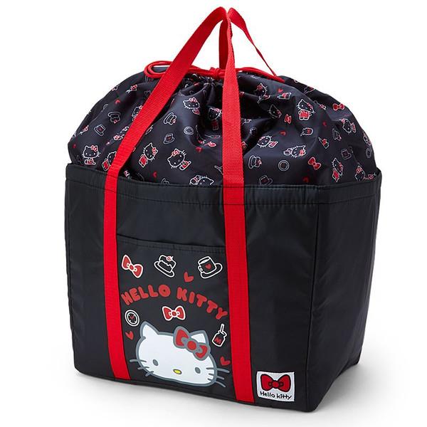 【真愛日本】16050300006保冷可折束口購物籃袋-KT大臉黑     三麗鷗Hello Kitty凱蒂貓 旅行袋 收納袋