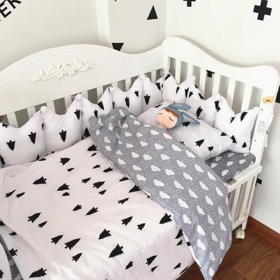 【doudoumiki】【純棉】皇冠造型嬰兒床圍床組-(黑小樹+雲朵)(5件套/7件套)(3面圍/全圍)