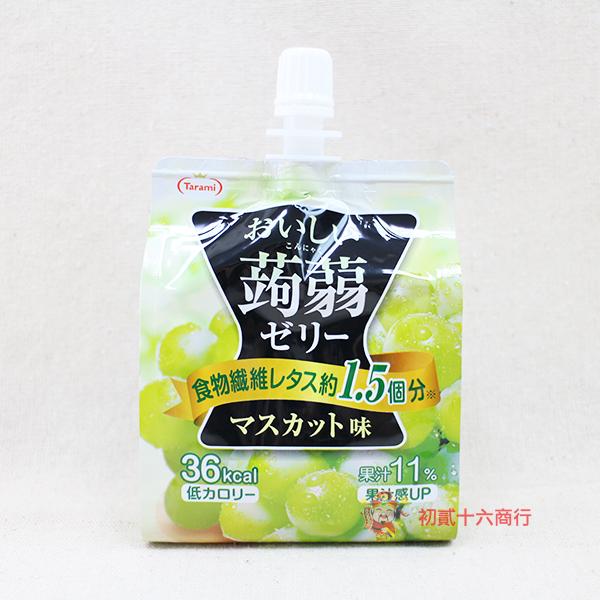 【0216零食會社】日本達樂美-蒟蒻青葡萄吸管果凍150g