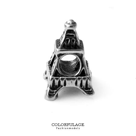 組合字母串珠手鍊 歐風立體鐵塔造型穿式鋼墜手環 抗過敏氧化 柒彩年代【NT52】CHARMS
