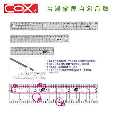 COX 三燕 CR-3000 30CM 多功能塑膠直尺 / 支
