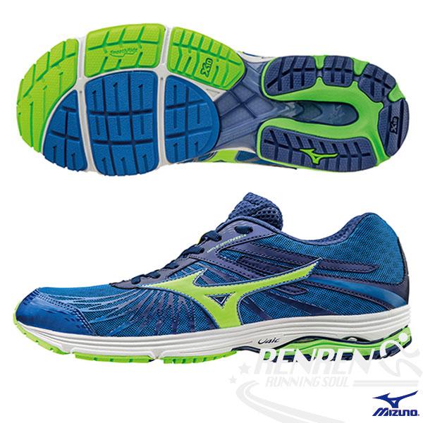 MIZUNO 美津濃 WAVE SAYONARA 3 男慢跑鞋(藍*螢光綠*丈青) 2016新款