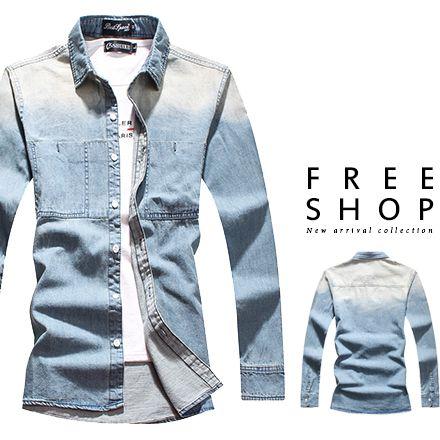 Free Shop 韓版型男英倫雅痞修身質感木扣造型水洗漸層藍色系單寧牛仔襯衫 有大尺碼【QJFK4015】