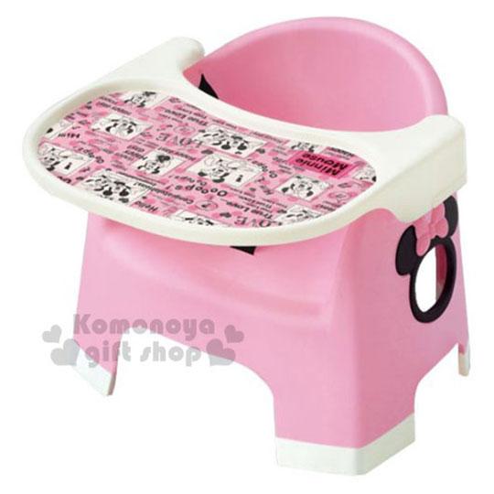 〔小禮堂嬰幼館〕迪士尼 米妮 日製幼兒用餐椅組《粉.造型簍空》有安全固定帶
