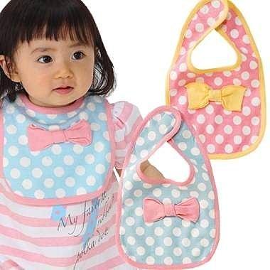 =優生活=((超可愛圍兜))蝴蝶結點點圍兜兜 防水圍兜兜 口水巾 粉紅/粉藍