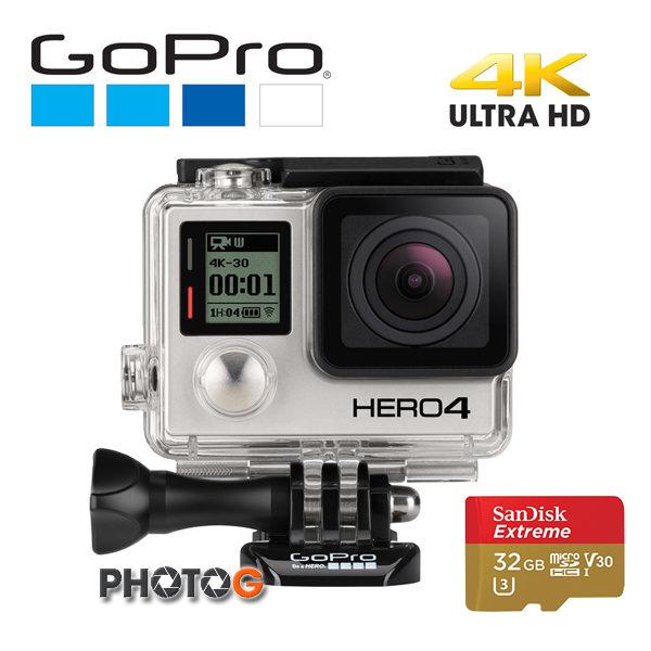 GoPro HERO4 Silver  / Hero4  gopro + sandisk Extreme  32G 觸控螢幕版 CHDHY-401  運動攝影機 (公司貨)