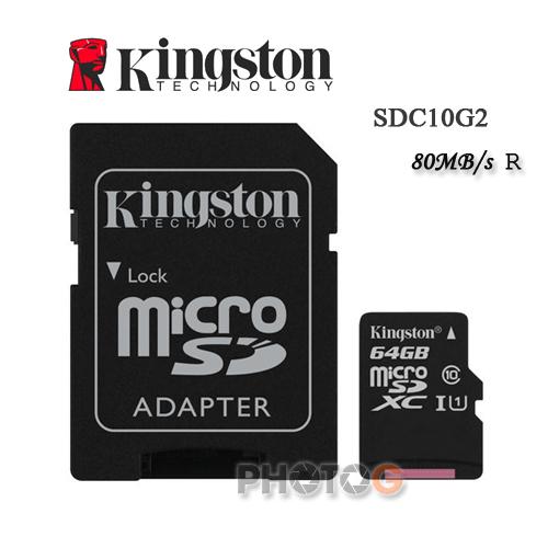 金士頓 KingSton  64G/64GB microSDHC/SDXC 記憶卡 SDC10G2  – Class 10 UHS-I ,終身保固,T-Flash/microSD