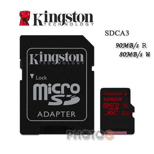 600X Kingston SDCA3  microSDXC / SD 128GB 128G  class 10 UHS-I  U3 讀90mb/S 寫80mb/s 4K 錄影 Gopro  終身保固 【免運費】
