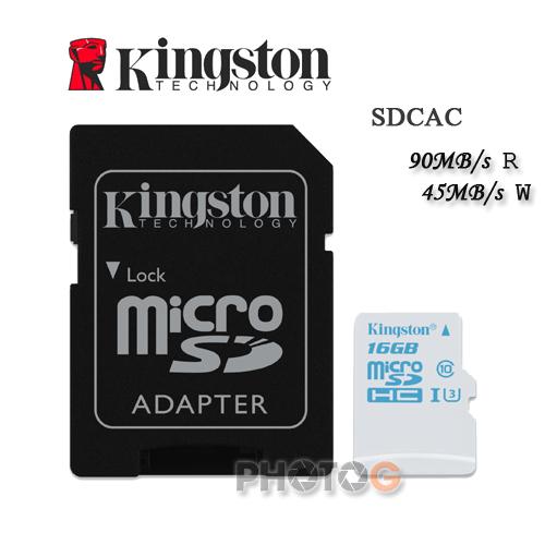 600X Kingston SDCAC  microSDHC / SD 16GB 16G  class 10 UHS-I  U3 讀90mb/S 寫45mb/s 4K2K 錄影 運動攝影 Gopro 終身保固